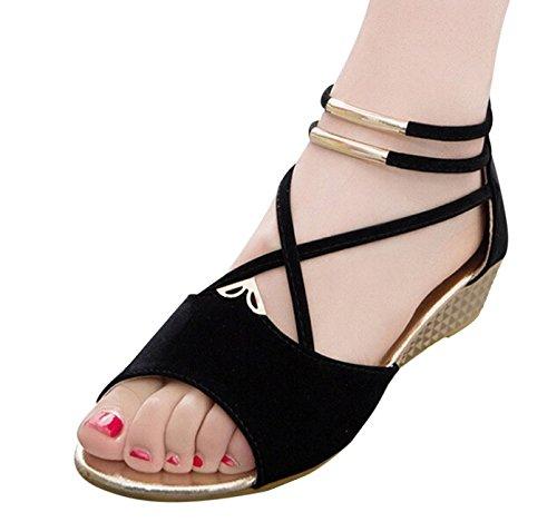 Hee grand Women Roman Style Open Toe Cross Strap Flat Sandals US 5.5 Black