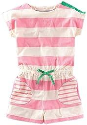 Fiream Girls Summer Shortsleeve Cotton Striped jumpsuitss(1001TZ,3T)