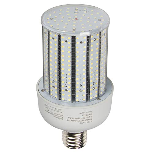 60W LED Corn Cob Bulb 347V 480V Replace 300Watt Metal Halide HID,CFL,HPS Retrofit Flood Fixture E39 Mogul Base,6000K Daylight White) (Led Cobra)
