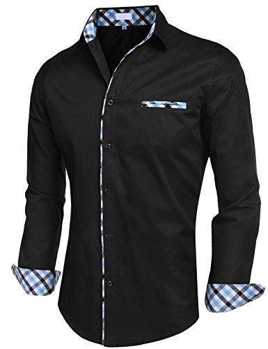 Misakia Mens Inner Plaid Oxford Cotton Button Down Dress Shirts (Black S)