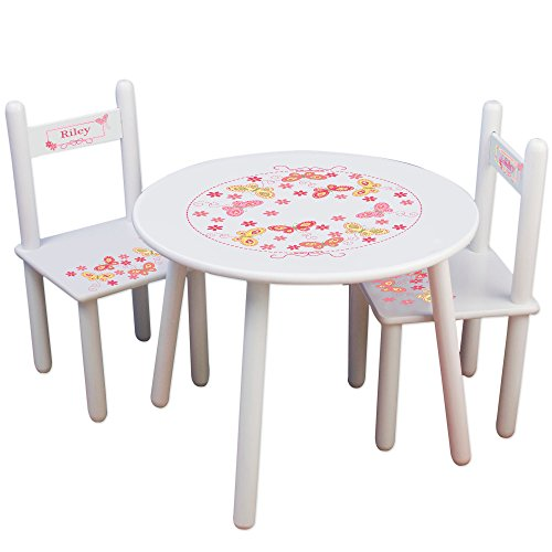 Butterfly Table And Chair Set (Personalized Butterflies yellow pink Childrens White Table and Chair Set)
