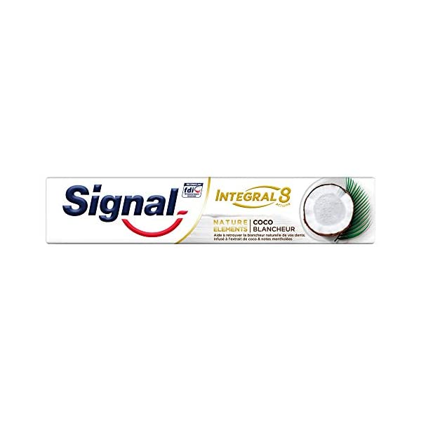 Signal Integral 8 Dentifrice Antibactérien Nature Elements Coco Blancheur, Formule Antibactérienne cliniquement prouvée…