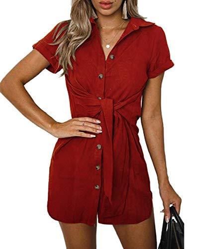Qearal Tie Waist Shirt Dress,Women's Short Sleeve Button Down Shirt Dress with Belt Wine - Belted Button Dress Strap