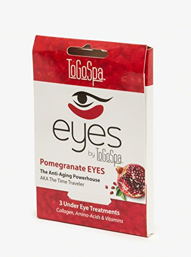 Pomegranate EYES by ToGoSpa - Premium Anti-Aging Collagen Gel Pads for Puffiness, Dark Circles, and Wrinkles - Under Eye Rejuvenation for Men & Women - 1 Pack - 3 Pair