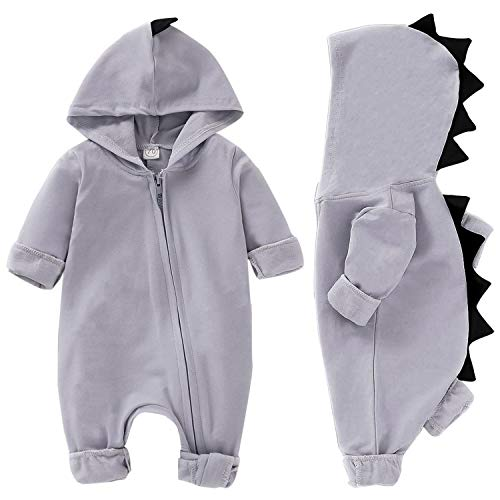 YOUNGER TREE Baby Boy Girl Outfits Dinosaur Long Sleeve Hoodie Romper Jumpsuit Onesie for Newborn Fall Winter Clothes (Gray, 18-24 Months) ()