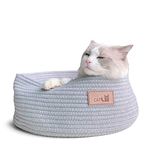 (Prima Cat Cuddle Cup Basket Bed Round Shape Cotton Chew Resistant for Puppy Small Dog Pet)