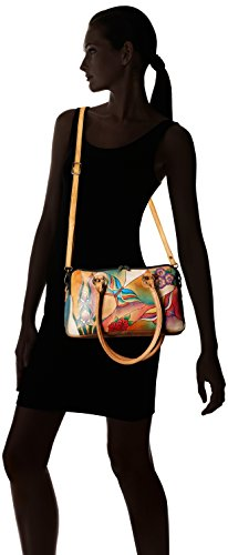 Women's Leather Handbag Painting Multi Anna Glass Top Anuschka Handle Butterfly Satchel Handpainted Comparment Large dOBwtTx