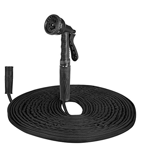 50 FT Garden Hose, Flexible Water Hose, Lightweight Garden Hose with PVC Inner Tube and 8 Patterns Spray Nozzle for Home, Heavy Duty Commercial Use