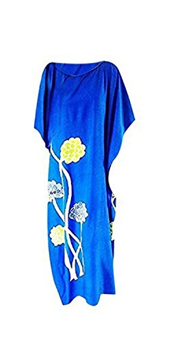 Blue New Floral Long Caftan Dress Kaftans Cool Amazing Dahlia w76qxCv88