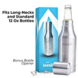 The Original Insul8 Beer Bottle Cooler | Double Wall Insulated Beer Bottle Holder Stainless Steel Fits 12 oz. Standard and Long-Neck Bottles | Bonus Bottle Opener Keyring and Gift Box