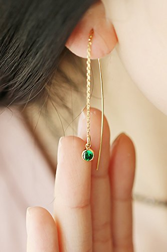 14k Precious Earrings (Generic US package will not fade 14K gold diamond emerald handmade jewelry ear wire earrings temperament long section of women girls lady)