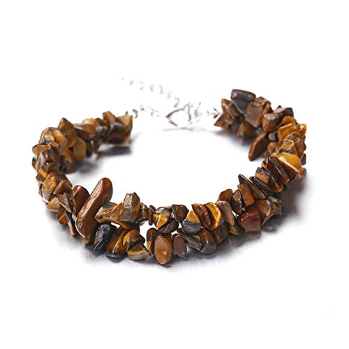 (Domccy Tiger Eye Beads Bangle Vintage Style Tumbled Chip Bracelet Handmade Irregular Strand Gemstone Beads Bangle Jewelry accessories, novelty jewelry, men and women jewelry)