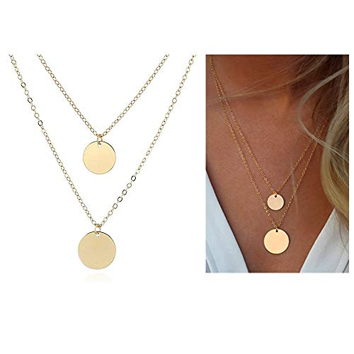 (WLL Double Gold Layered Chain Necklace Simple Disc Round Sequin Coin Necklace Bridal Jewelry (Gold))