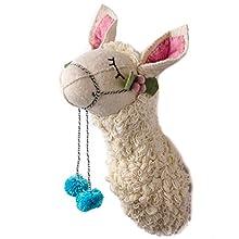 """Linen Perch Llama Felt Wall Décor   Baby Nursery Felted Wool Llama   Trendy Animal Head Decoration for Girl or Boy Bedroom or Child Playroom 7""""x5""""x16 (Llama)"""