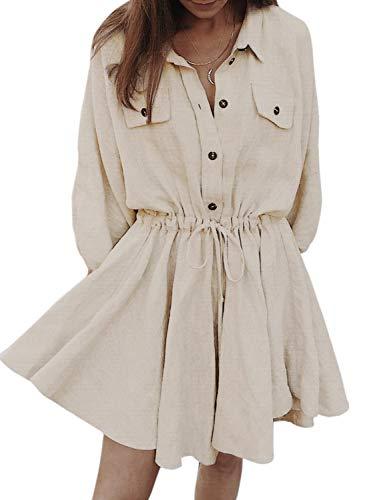 Simplee Women's Linen Shirt Dresses High Waist Drawstring Puff Sleeve Button Casual Mini T Shirt Dress (Nude 8)