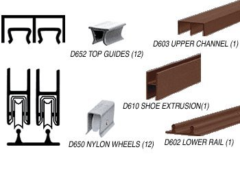 CRL Duranodic Bronze Economy Low Profile Showcase Sliding Track Assembly D603 Upper & D602 Lower Track with Nylon Wheels - 12 ft Long