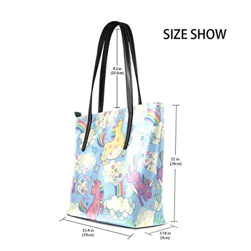 COOSUN Einhörner PU Leder Schultertasche Handtasche und Handtaschen Tasche für Frauen