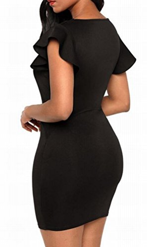 Bodycon Dress Domple Ruffles Party Bandage Womens Hollow Black Sexy Out Mini ZzwrqSZUg
