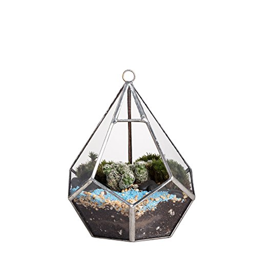 5.3 inches Silver Handmade Wall Hanging Geometric Glass Terrarium Window Sill Balcony Succulent plants Planter Small Indoor Decoration Flower Pot Vase Centerpiece for Wedding Coffee Table (No Pebbles) Micro Minis Stained Glass