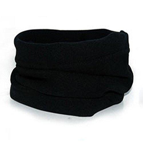 LEADALLWAY Neck Warmer Outdoor Fleece Scarf Turtleneck Collar Men and Women Winter Multifunctional Headgear Warm mask Hat Black