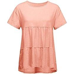 YKARITIANNA Women's Scoop Neck Pleated Blouse Top Tunic Shirt Solid 2019 Summer T Shirt Orange