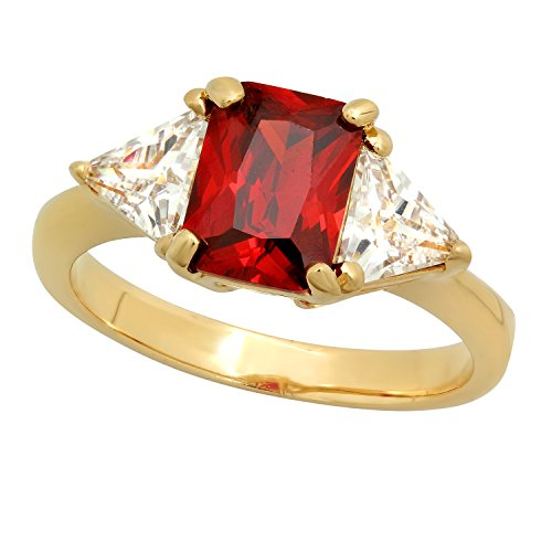 - The Bling Factory 14k Gold Plated Emerald-Cut Red Garnet CZ Three-Stone Ring + Polishing Cloth, Size 8.5