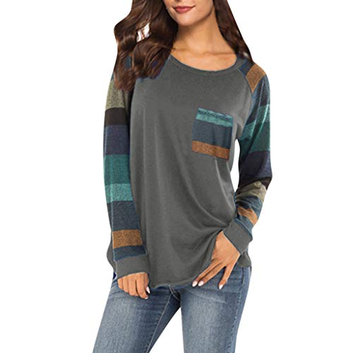 Xturfuo 2019 Spring Women's Blouse Striped Sleeve Stitching Contrast Color Long-Sleeved Shirt Dark Gray