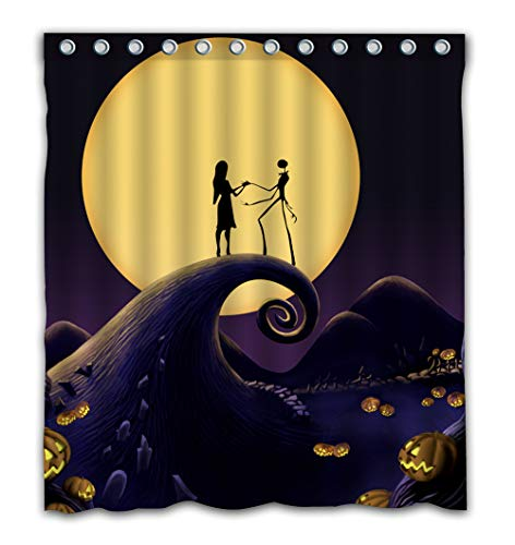 Patwee Happy Halloween Romantic Design Shower Curtain Waterproof Fabric for Bathroom Decoration 66x72 -