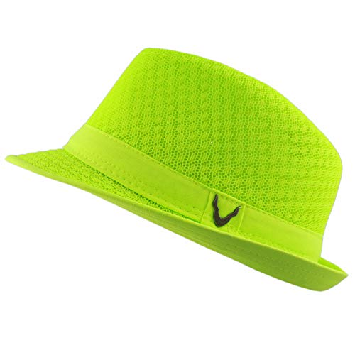 Black Horn Light Weight Classic Soft Cool Mesh Fedora hat (S/M, Lime)