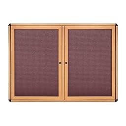 Ovation 2 Door Enclosed Bulletin Board Surface Color: Merlot, Size: 2\'10\
