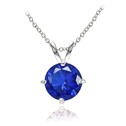 Amethyst Blue Sapphire Necklace (Sterling Silver Simulated Blue Sapphire 7mm Round Solitaire Pendant Necklace)