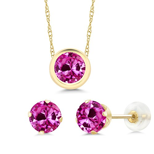3.00 Ct Round Pink Created Sapphire 14K Yellow Gold Pendant Earrings Set by Gem Stone King