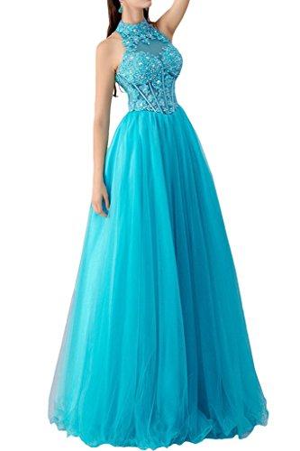 Lang Spitze mia Schulterfrei A linie Herrlich Bodenlang Blau Promkleider Pailletten Braut Abendkleider Prinzess Ballkleider La wpCzdqq