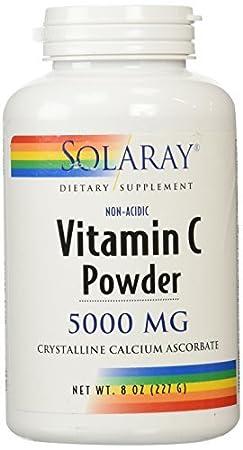 Amazon.com: Vitamin C Powder, 5000 mg, 8 oz (227 g) by Solaray: Health & Personal Care