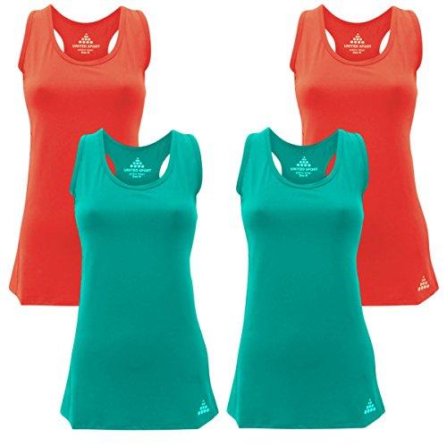 maniche maglietta Pack sportiva 4 2 canottiera Orange X donna Blue fitness Back WickingRacer gilet sportiva traspirante 2 elasticizzata da X Da cool senza wYXaEwq