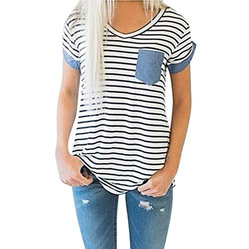 Bianca Tempo Shirts Corta Chic Patchwork HX Eleganti Tops Maglietta Relaxed fashion V Ragazza Leggero Estivi Libero Manica Donna Neck Stripe Bianca Base Camicetta qwUawCH
