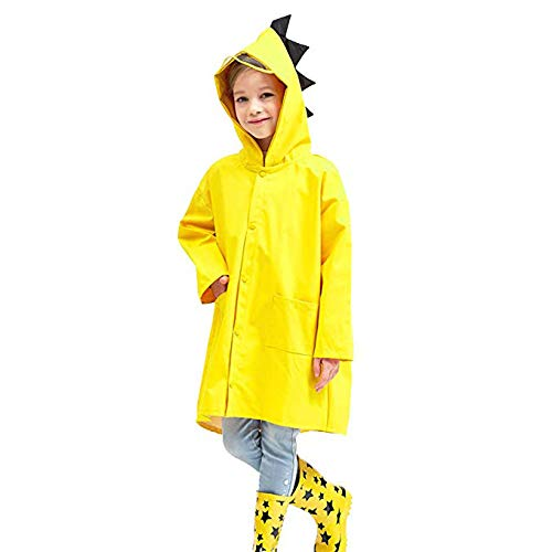 Gamtec Imperméable Veste de Pluie pour Enfant 1-10 Ans, Costume garçon en Forme de Dinosaure(Marguerite jaun)
