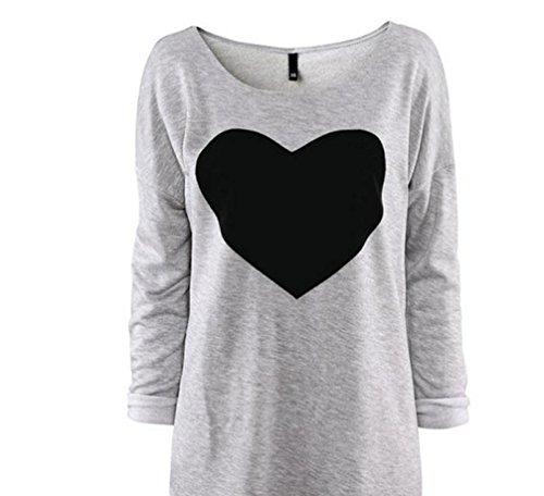 Anxinke Women Casual Loose Heart Printed