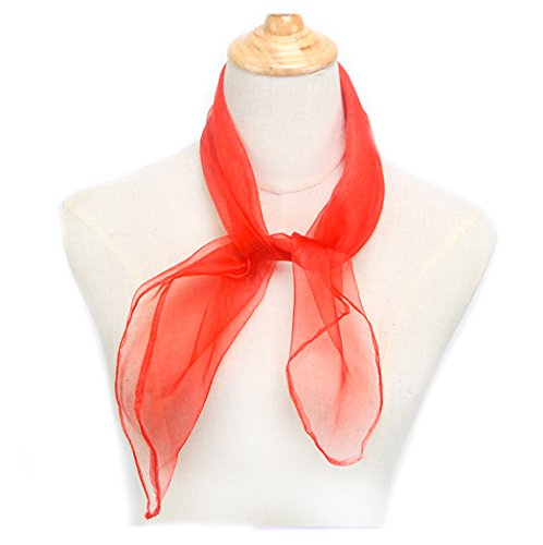 1950s Square Chiffon Scarf Sheer Square Neck Head Scarfs for Women,girls (Red) ()