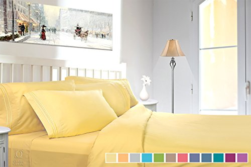 (Clara Clark 4 Piece Sheet Set Deep Pocket Brushed Microfiber 1800 Bedding Hypoallergenic, Wrinkle, Fade & Stain Resistant, Cal King Size, Custard Mellow Yellow)