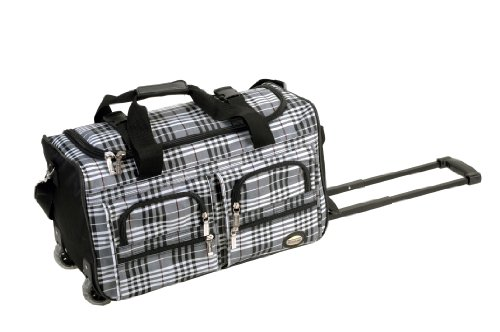 Rockland Luggage 22 Inch Rolling Duffle Bag, Black Cross Plaid, One Size ()