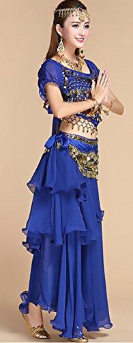 collana Dancing Donna Danza Top Elegante Ventre Vintage Del Indiani gonna Lunga Blu 5 Costumi Costume Etnico Pezzi Indiano ornamento Cintura Pancia Testa Ragazze Stile Giovane monete wSIrSq8xd