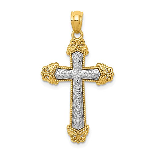 14k Two Tone Yellow Gold Cross Religious Pendant Charm Necklace Fine Jewelry Gifts For Women For Her