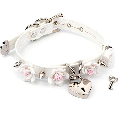 Handmade Cosplay Studded Flowers Leather Heart Lock Choker Collar Cute Kawaii (White Choker with Silver Spike) (Studded Leather Choker)