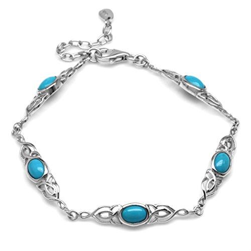 Genuine Arizona Turquoise 925 Sterling Silver Triquetra Celtic Knot 7.25-8.75 Inch Adj. Bracelet -