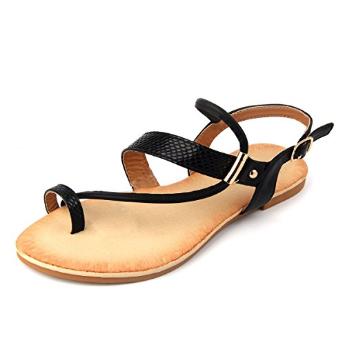 Mu Dan Thong Flat Gladiator Summer Sandals (7 B (M) US, BLACK)