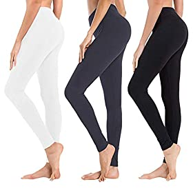 High Waisted Leggings For Women Soft Athletic Tummy Control Pants For Running Cycling Yoga Workout Reg Plus Size 3 Pack Black Navy Blue White Extra Size Us 24 32