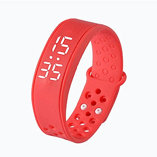 Rumas Children Activity Tracker Step Counter, Multifunctional Smart Bracelet Support Dual Systems, LED Display USB 2.0 Interface Smart Watch (Red) by Rumas