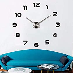 YmissL Black Wall Clock Large Silent Non Ticking, 3D DIY Battery Operated Clock with Mirror Numbers Stickers- 36 Inch(1M Wall Watches for Home, Living Room Decor Gift