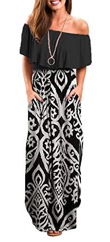 Othyroce Womens Off The Shoulder Floral Print Black White Long Maxi Dresses L